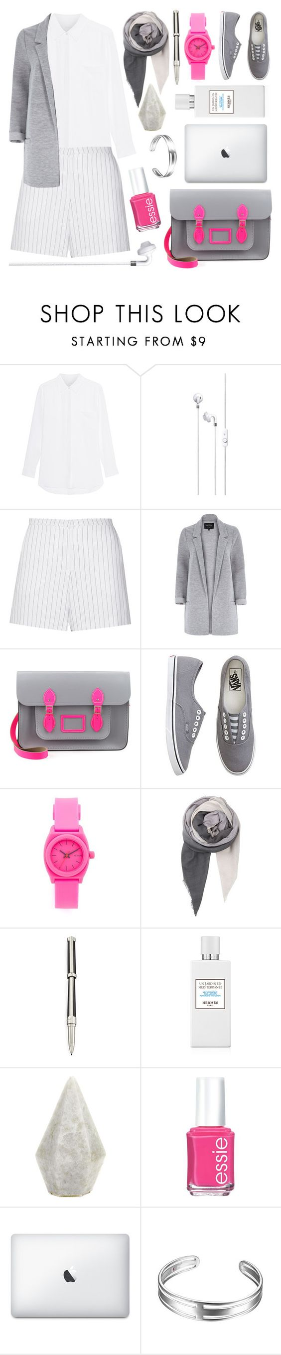 """""""It's a Grey Area"""" by lamemechose ❤ liked on Polyvore featuring Jadicted, Sandro, River Island, The Cambridge Satchel Company, Vans, Nixon, BeckSöndergaard, S.T. Dupont and Essie"""