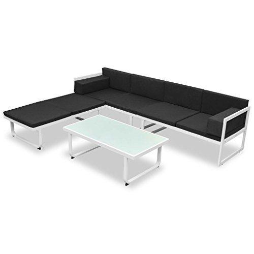 Vidaxl Canapes De Jardin 13 Pcs Textilene Aluminium Noir Blanc