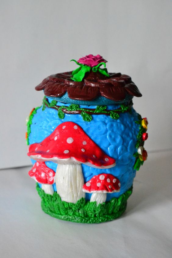 Summer fairy houses made from polymer clay