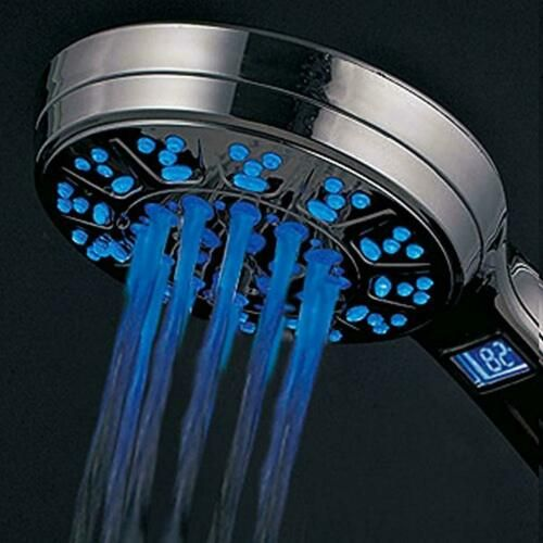 Hotelspa All Chrome 5 Setting Led Lcd Handheld Shower Head With Lighted Lcd Temp 786696014858 Ebay Handheld Shower Head Hand Held Shower Shower Heads