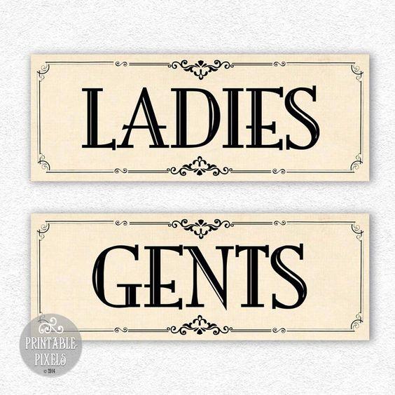 """Bathroom Signs Printable Free: Restroom Signs Printable """"Ladies/Gents"""" DIY Digital"""
