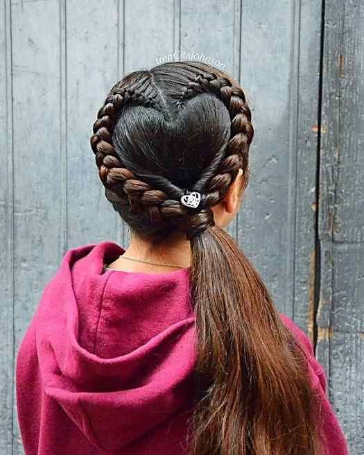 Easy Heart Shape Braid Hairstyles For Teenage Girls Haircuts 2019 20 Hair Hairs Hairstyles Haircut Haircare Hai Hair Braid Heart Heart Hair Hair Styles
