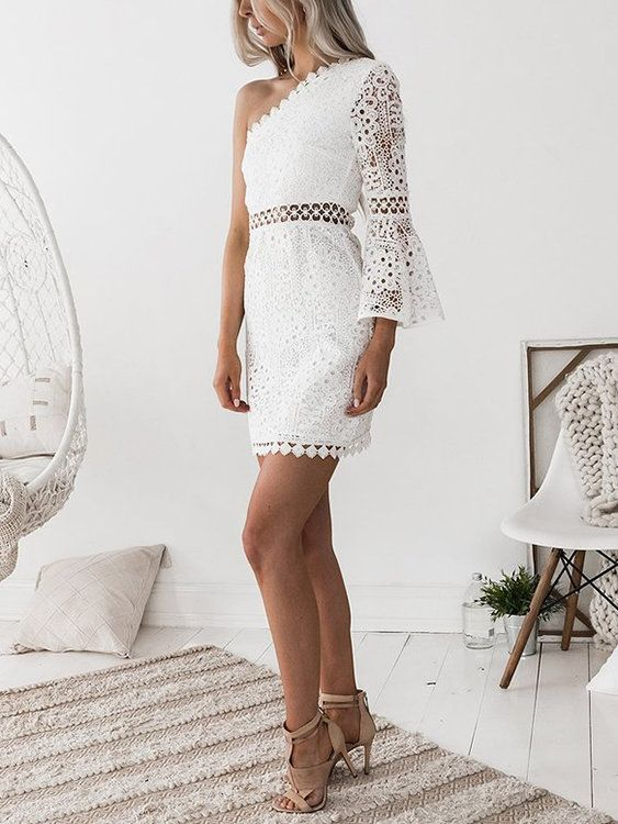 White One Shoulder Bell Sleeve Lace Dress Bell Sleeve Bodycon Dress Lace Dress With Sleeves Dresses