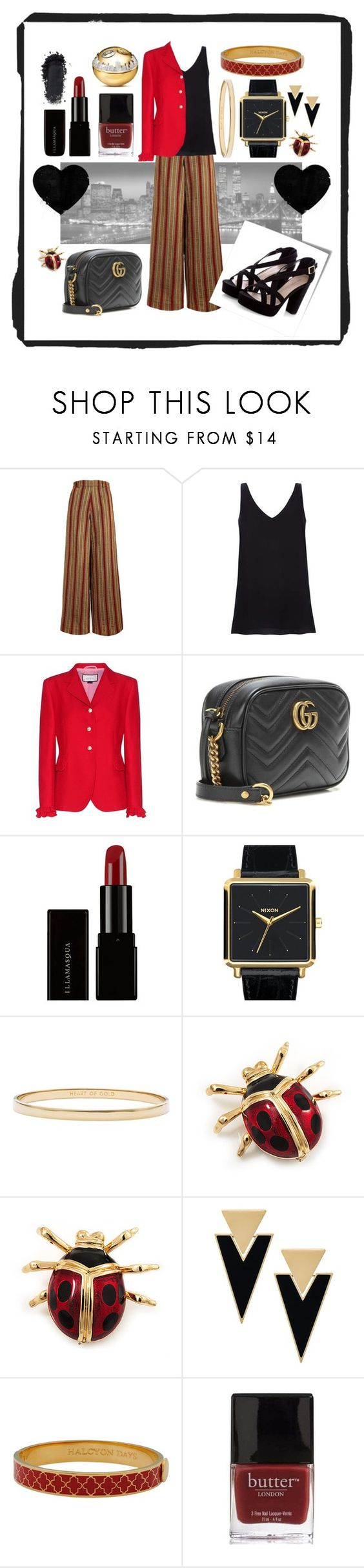 """""""Feelin' Good"""" by brightlights29 ❤ liked on Polyvore featuring The Bee's Sneeze, Gucci, Illamasqua, Nixon, Kate Spade, Post-It, Yves Saint Laurent, Halcyon Days, DKNY and Butter London"""