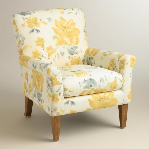 Yellow Fleurs Estelle Armchair Chair World Market With Floral Pattern 4046 Oversized Chair Living Room Upholstered Chairs Comfy Chairs