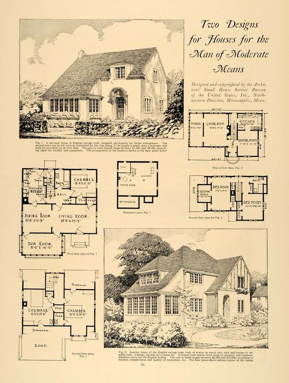 1924 Print Home Design Living Room Dining Sun Architect