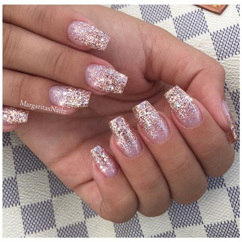 Rose Gold Ombre Coffin Nails With Glitter