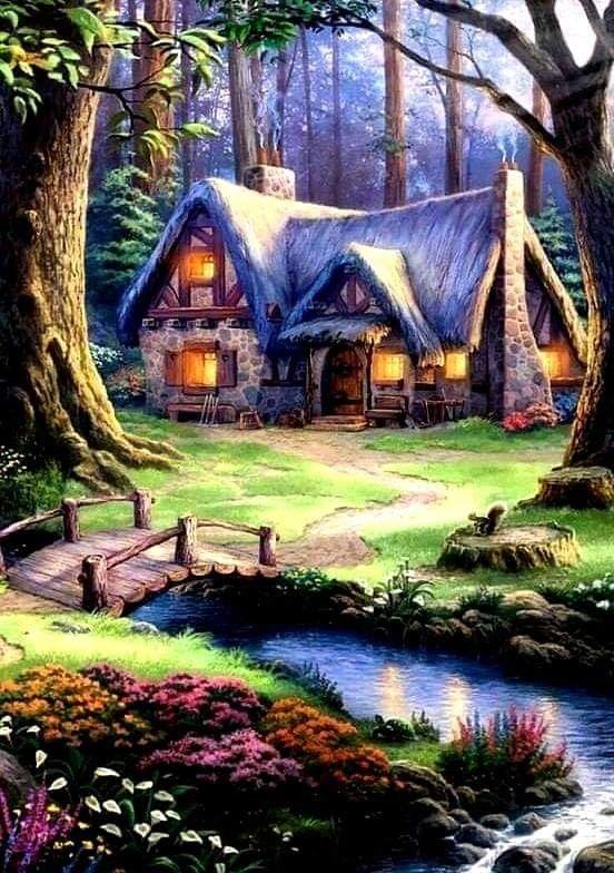 Blissful Cottage Pinturas Hermosas Paisaje De Fantasia Hermosos Paisajes