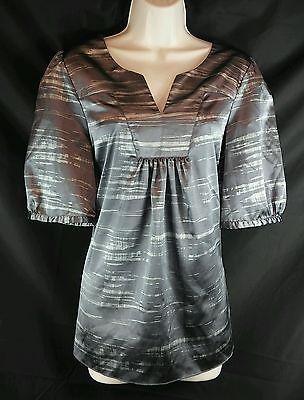 Daisy Funtes NEW Gray Marbled Satin Short Sleeve Tunic Top Ladies L