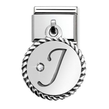 Maillon composable en acier avec pendentif Lettre de l'alphabet argent et Cubic Zirconia