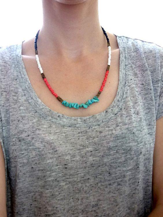 Farbe Block Seed Bead Necklace, Multi farbige Türkis Halskette, bunte Halskette Perlen Boho Kette schwarz weiß rot blau Bronze