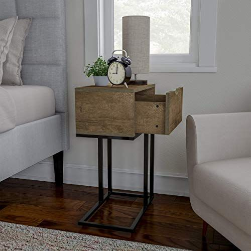 Buy Sofa Side Table C Shaped End Table Storage Drawer Modern Farmhouse Rustic Style Laptop Tray Slide Under Couch Bed Lavish Home Gray Online