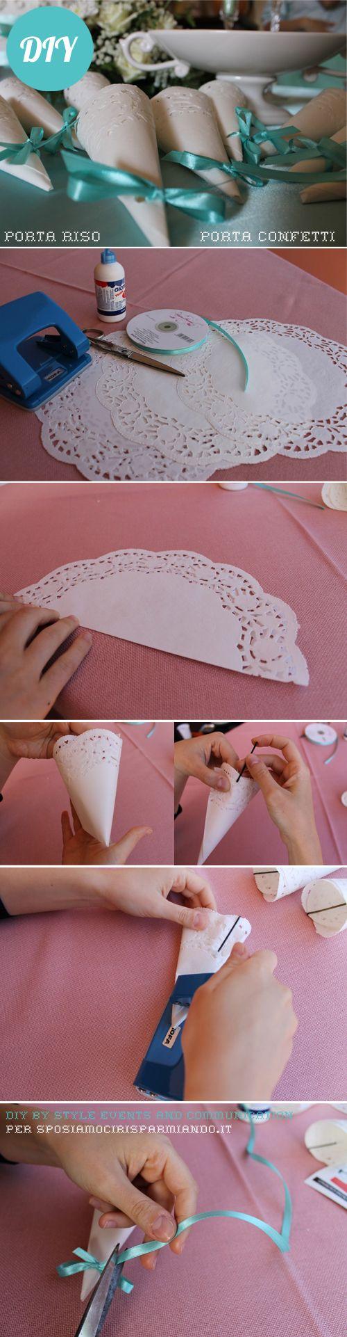 Eleganti coni portariso fai da te, che all'occorrenza si possono utilizzare anche come portaconfetti. Un facile e veloce DIY :-):