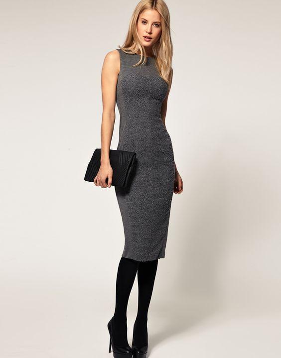 ASOS | ASOS Pencil Dress with Boucle Panel at ASOS
