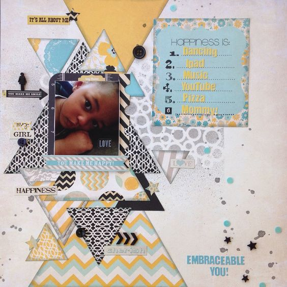 Scrapbook layout for paper issues challenge. Using triangles