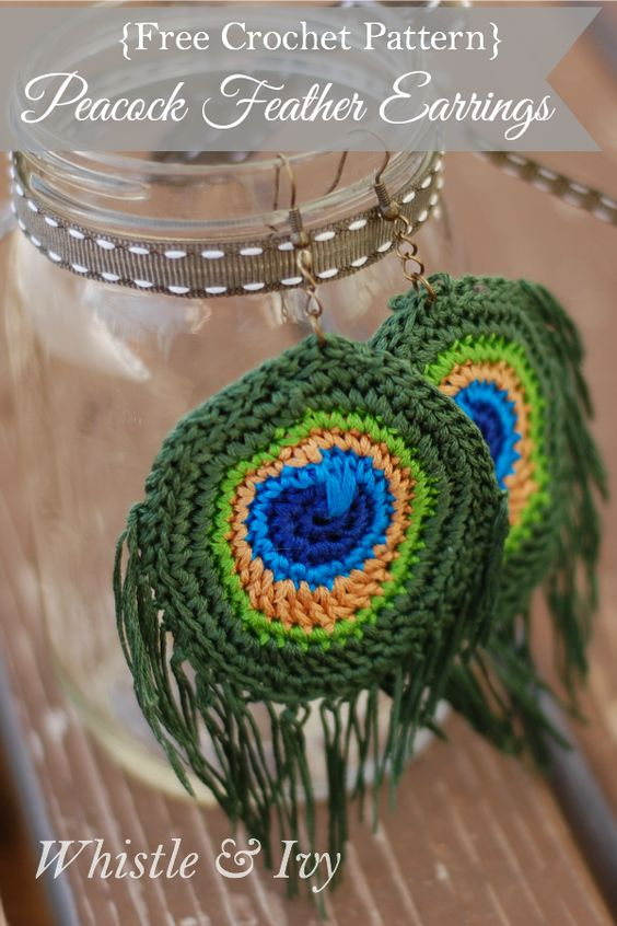 Crochet Pattern For Peacock Feather : Crochet Peacock Feather Earrings Beautiful, Patterns and ...