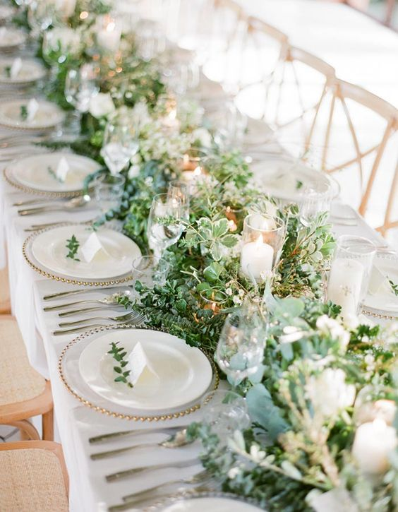 21 Incredibly Gorgeous Floral Runner Ideas Guests Will Flip Over - Wilkie Blog! - Greenery table runner