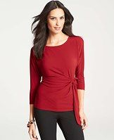 Crepe Side Tie Boatneck Top - We love the playfully pretty - and undeniably figure flattering - effect a side tie lends to this polished crepe essential. Boatneck. 3/4 sleeves.