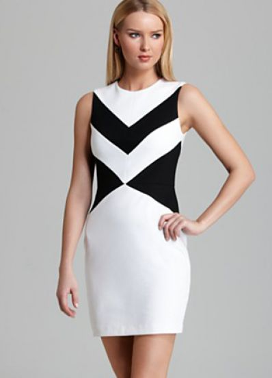 White Black Sleeveless Geometric Pattern Bodycon Dress // create the illusion of a cinched-in waist with these incredible direction-lines. They lead the eye - amazing effect, so flattering. Need this dress! #wearabledesign