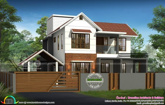 Modern Sloped Roof 2300 Sq Ft Home Plan Kerala Home Design Kerala House Design House Plans House Design