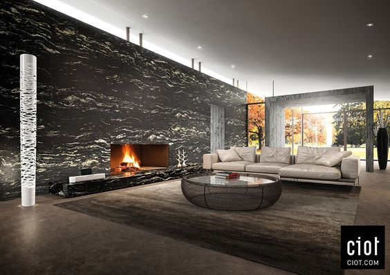On the wall: Black Cosmic Granite by Antolini  Au mur : Granit Noir Cosmique d