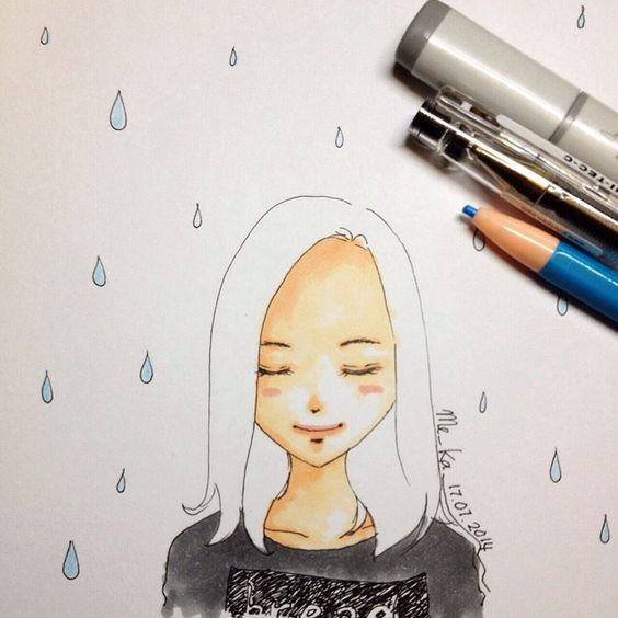 close your eyes, feel the rain! | #mekaworks #drawing #rain