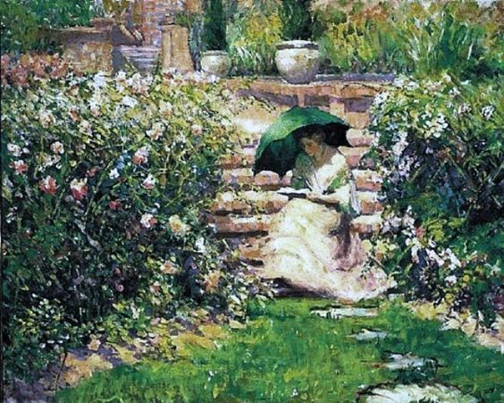 'Woman Reading in the Garden'  by; American Richard Edward or Emil Miller (1875–1943)