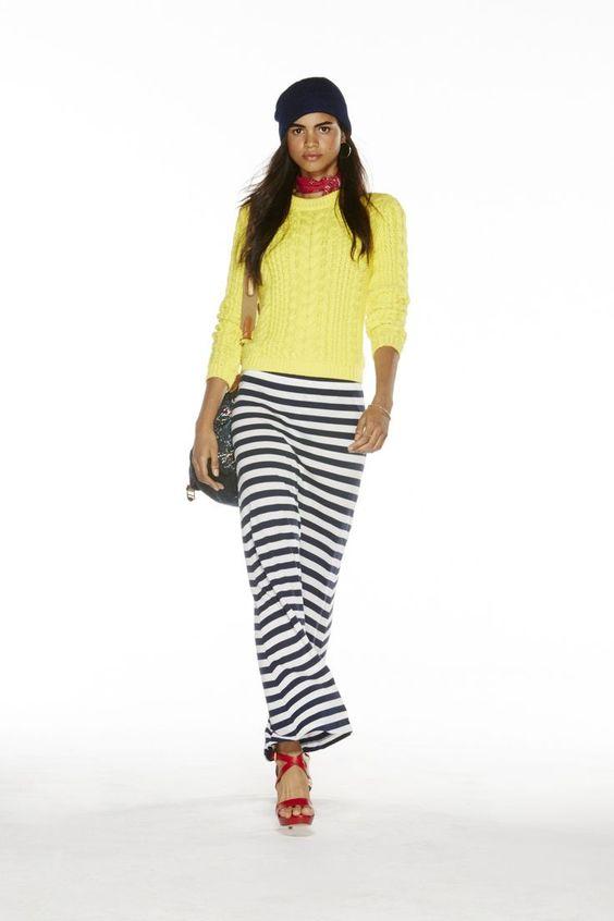 collection polo pour femmes printemps 2015 pull en coton jaune jupe en coton ray