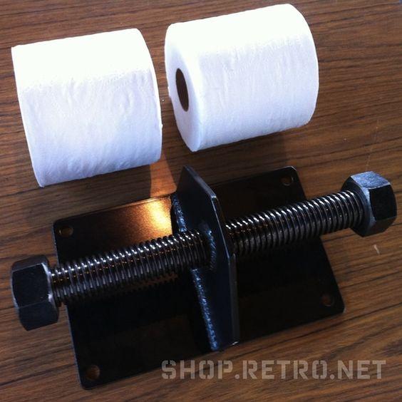Vintage Industrial double toilet paper holder