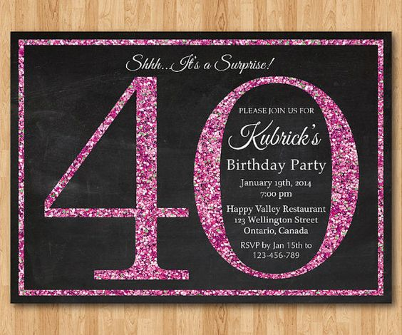 40th Birthday Invitation For Women. Pink Glitter Birthday