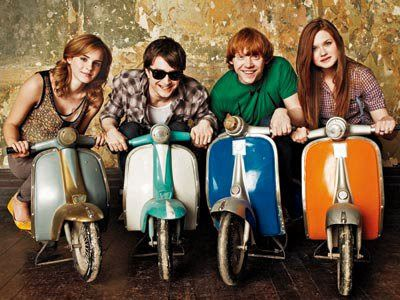 Harry potter cast in bikes hermione granger harry potter - Ron weasley and hermione granger kids ...