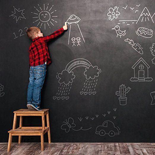 Fancy Fix Self Adhesive Chalkboard Wall Sticker Vinyl Contact Paper Blackboard Wall Paper With 5 Chalks For Hom Blackboard Sticker Chalkboard Wall Wall Sticker
