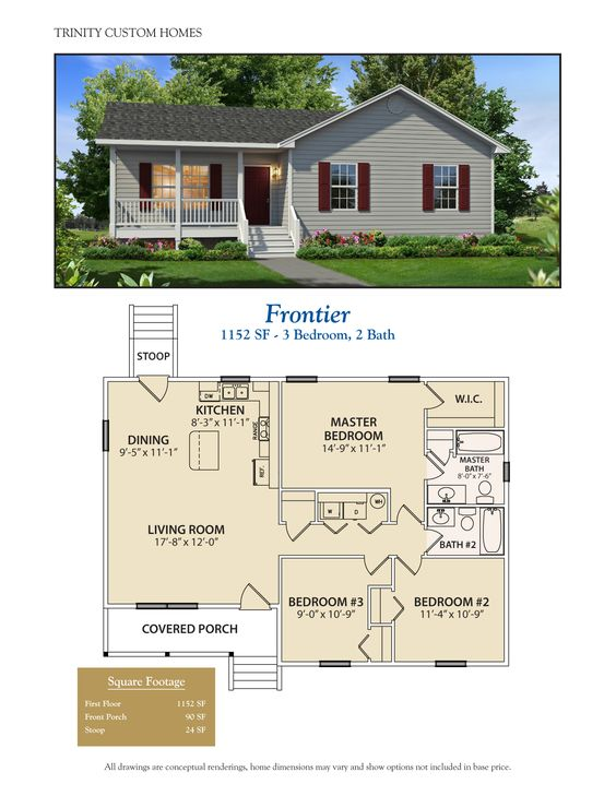 Cute, functional small house cottage cabin plan. Less than 1200 sq ft. More