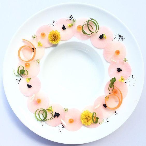 """Pickled pink radish carpaccio •by royalebrat on IG #plating #gastronomy:"