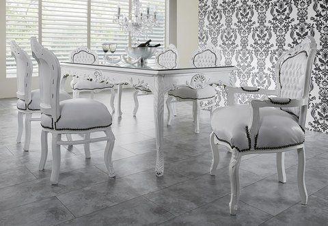 casa padrino barock esszimmer set weiß/weiß - esstisch + 6 stühle, Esszimmer dekoo