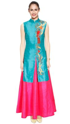 Turquoise Bird Embroidered Long Achkan Jacket With Pink Skirt Lehenga Lehengas