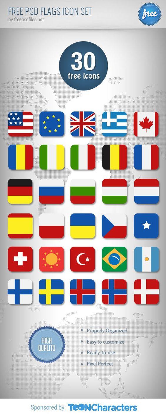 30 бесплатных иконок - флаги