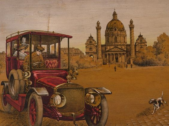 """Farblithografie """"Automobil vor der Karlskirche"""", um 1910"""