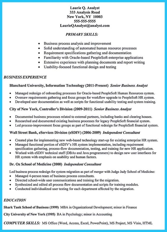 Senior Business Analyst Resume If You Are A Business Analyst And You Just Seeking For A Job In A