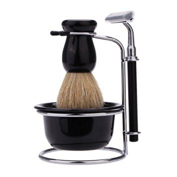 Abody 4 In 1 Men's Manual Razor Set Stainess Steel Stand Holder 5 Blades Wet Shaving Beard Razor Shaving Brush Bowl