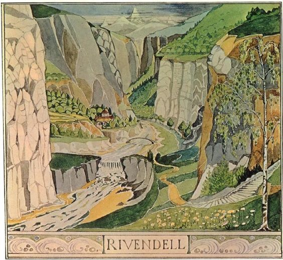 A drawing of Rivendell, by Tolkien (PInterest)