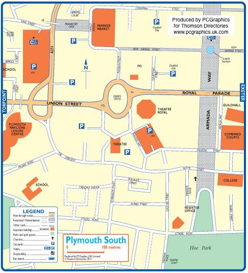 Map of Plymouth South created in 2011 for Thomson Directories. One of approximately 350 UK town and city maps produced royalty free. Find out more...  http://www.pcgraphics.uk.com   or read our blog...    http://www.pcgraphics.uk.com/blog/