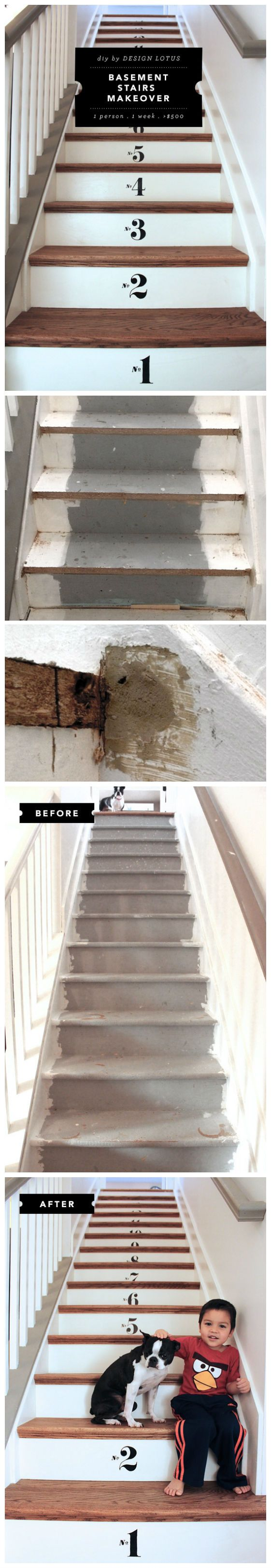 Best Basement Stairs Stair Makeover And Basements On Pinterest 400 x 300