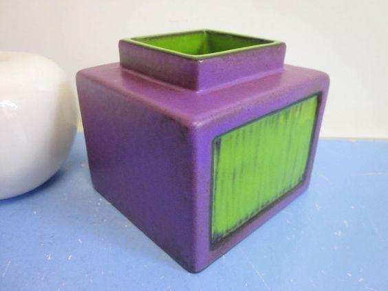 Bückeburg Vase Keramikvase Lava lila grün 70er WGP 60er 70er