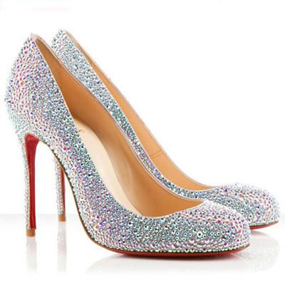 knockoff christian louboutin pumps - Christian Louboutin Round Toe Silver Evening Shoes with Glitter ...