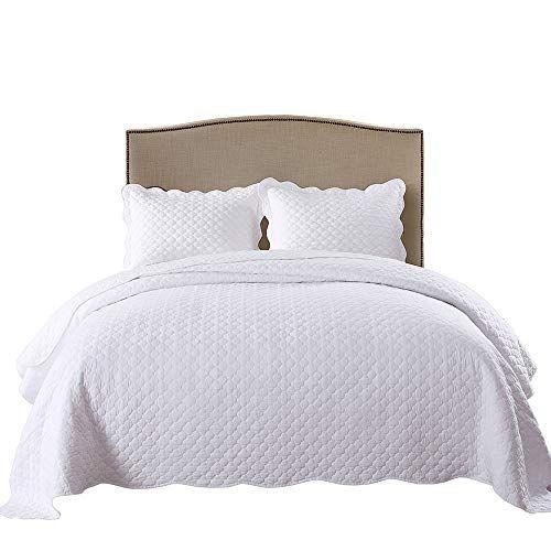 Marcielo 3 Piece 100 White Cotton Quilt Set Lightweight Bedspread