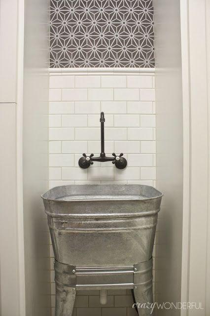 galvanized wash tub laundry room sink l a u n d r y m u d r o o m pinterest bathrooms. Black Bedroom Furniture Sets. Home Design Ideas