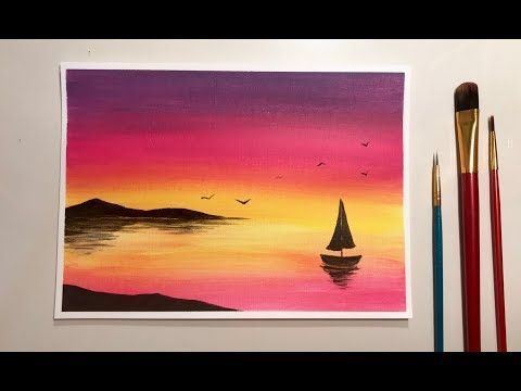Simple Acrylic Sunset For Beginners Youtube With Images