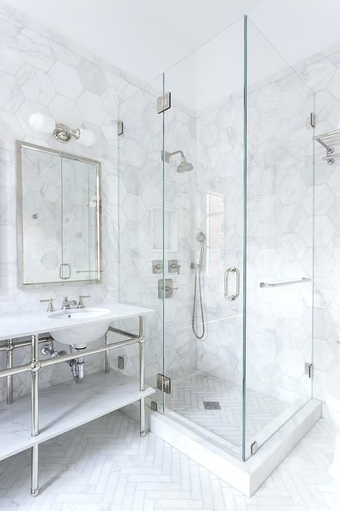 Large Floor Tiles Bathroom Shower With White Herringbone Floor Tiles View Full Size Large Format Bathroom Floo Marble Bathroom Designs Shower Floor Shower Tile