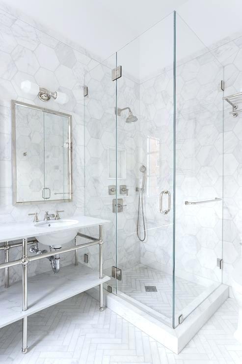 Large Floor Tiles Bathroom Shower With White Herringbone Floor